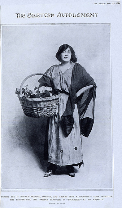 Пигмалион. Патрик Кэмпбелл в роди Элизы Дулиттл, 1914 г.